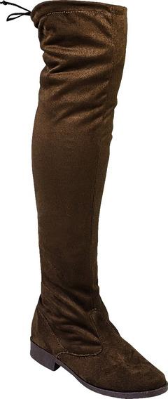 Bota Montaria Over The Knee Camurca Stretch A Cima Do Joelho