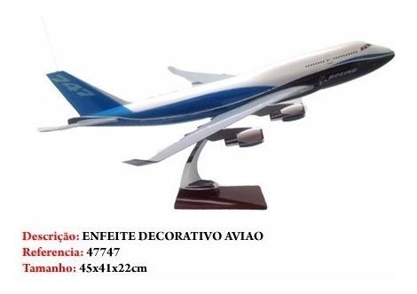 Miniatura De Aviao Boeing 747 Com Base Madeira Novo Grande