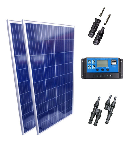 Kit 2 Placa Solar 150w Controlador 30a Lcd