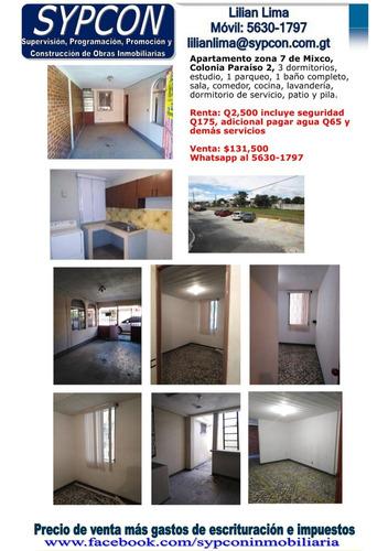 Apartamento Nivel 1, Colonia Paraíso 2 Zona 7 Mixco