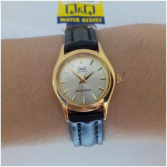 Relógio Feminino Qq Quartzo Mini Original Pulseira Couro Vip