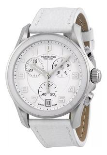 Reloj Victorinox Swiss Army Chrono Classic White Dial Cuero.
