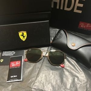 Óculos De Sol Rayban Hexagonal Ferrari Collection