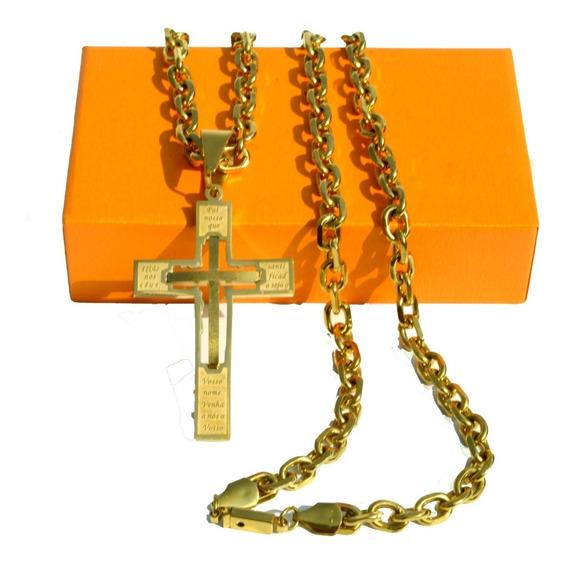 Cordão Masculino Banhado Em Ouro 18k Crucifixo Corrente 70cm