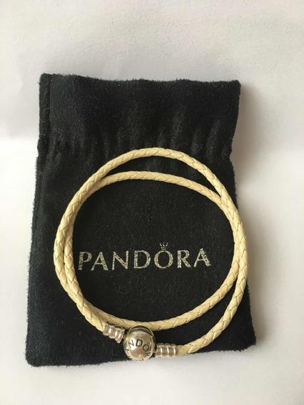 Bracelete De Couro Branco Marfim Pandora-35 Cm Promoção