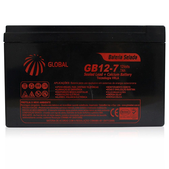 Bateria Global 7 Amp 12v Nobreak Estabilizador Alarme