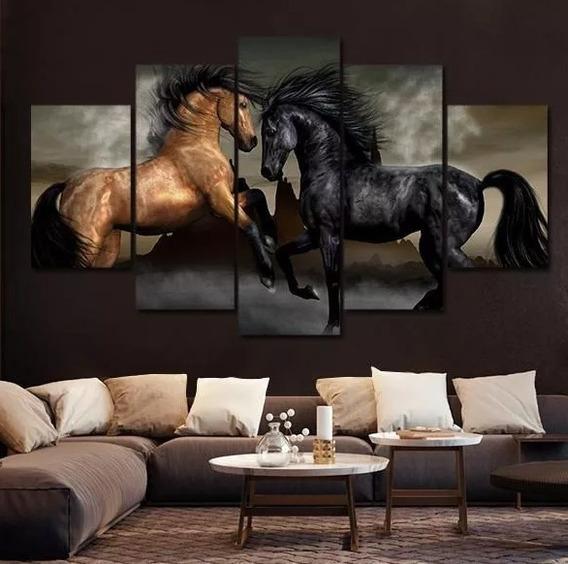 Quadro Cavalos Moderno 5 Peças Mosaico Hd 115x60+brinde