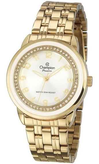 Relógio Champion Ponteiro Dourado Zircônia E Resina Cn29963h