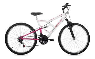 Bicicleta Free Action Full Fa240 Aro 26 18v Branco/rosa