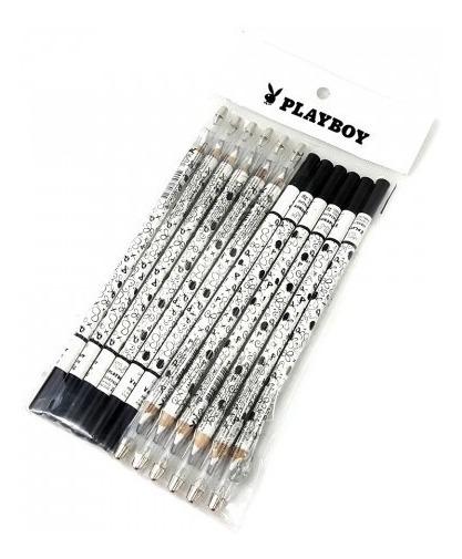 12 Lápis Branco Olhos Sobrancelhas C/ Apontador Kit Atacado