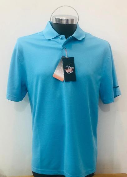 Camiseta Beverlyhills Tipo Polo Club Talla M Azul Turquesa