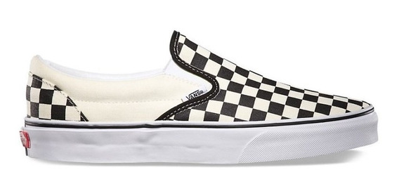 Tênis Vans Classic Slip On Checkerboard White Black - C/nota