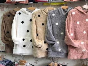 Blusa Frio Feminina Pelinho Bordados Bolinha Inverno Importa