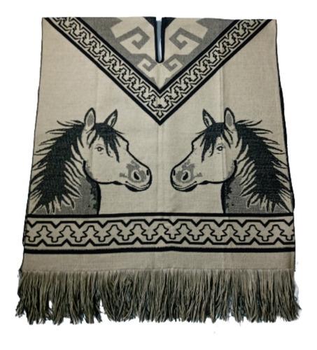 Poncho Sarape En Hilo, Diseño Caballos Doble Faz