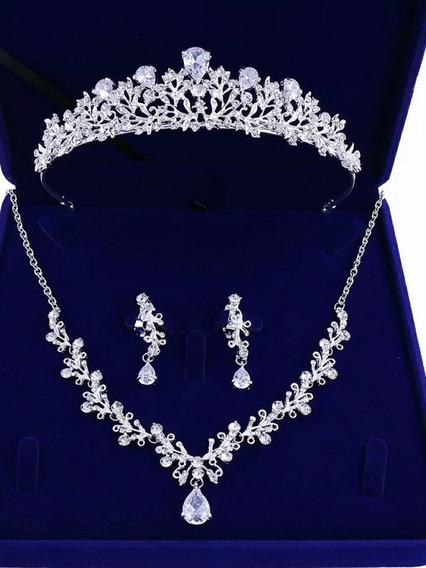 Conjunto Casamento Strass Cristal Coroa( Tiara) Colar Brinco