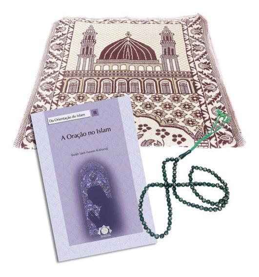 Islã - Kit Oração - Livro Oração No Islam + Tapete + Masbaha