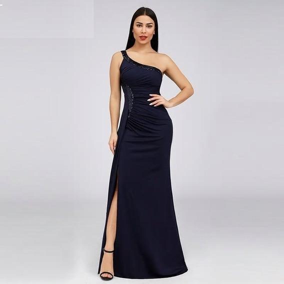 Vestido De Fiesta Largo, 1 Hombro, Azul Oscuro