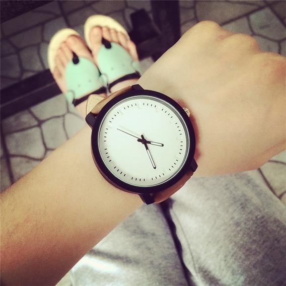 Relógio Unissex Casual Pulseira Em Couro Promoção