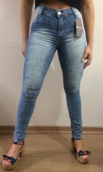 Calça Jeans Feminina Cintura Alta Hot Pants Skinny C/ Lycra