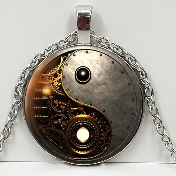 Hermoso Collar Steampunk Ying Yang, Ideal Para Regalo