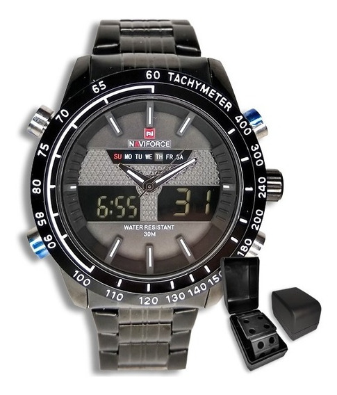 Relógio Masculino Naviforce Original Preto Importado +brinde