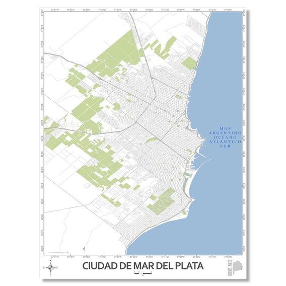 Mapa Ciudad De Mar Del Plata 80cmx61cm