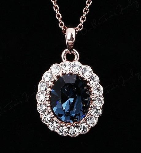 Hermoso Collar Con Swarovski Crystals Con Estuche Importado