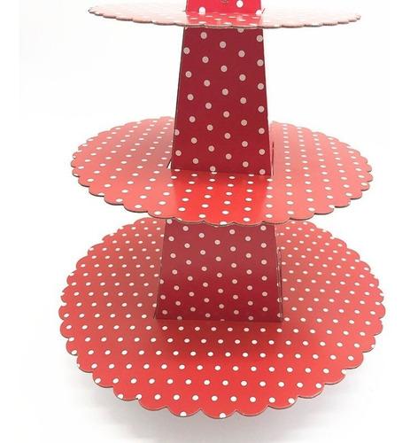 Stand Para Cup Cake Rojo De Puntos