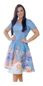 Vestido Feminino Midi Social Festa Rodado Moda Evangélica