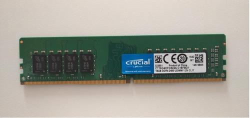 Imagen 1 de 4 de Memoria Ram Para Pc 16 Gb Ddr4  - 2400. Crucial