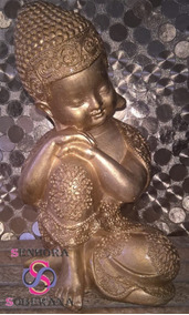 Estatueta/ Buda Sentado Com A Cabeça Apoiada No Joelho- Dour