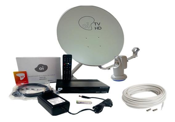 Kit Elsys Receptor E Antena 75cm Oi Tv Livre Hd Lnbf E Cabo