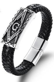 Pulseira Bracelete Maçonaria Couro Legitimo + Aco Inox