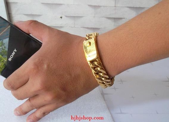 Pulseira Bracelete Em Aço Inoxidável Banhada A Ouro 18k
