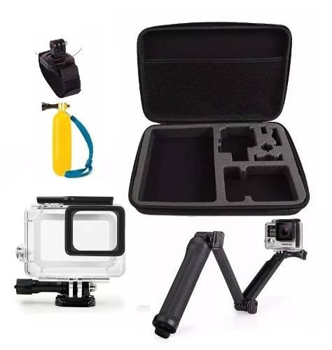 Kit P/ Hero 5 6 Boia 3 Way Maleta Grande Estanque Pulseira