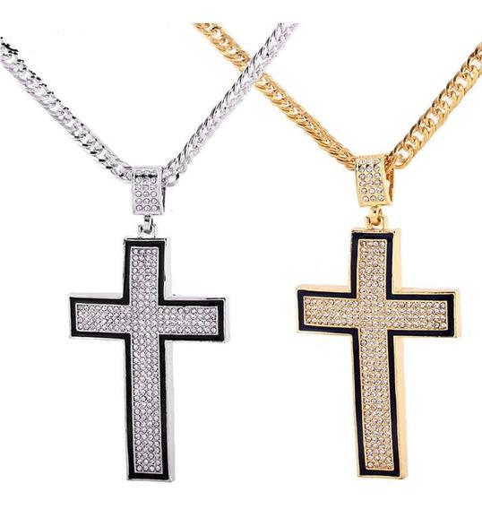 Corrente Masculina Longa Hip Hop Cruz Crucifixo Brilhante C206