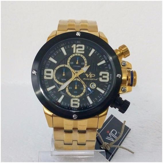 Relógio Vip Eurostar Cronógrafo Original Dourado Prova Dágua 12x Sem Juros Frete Gratis