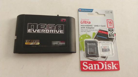 Mega Everdrive X7 Krikzz Com Cartão Sd Com Jogos