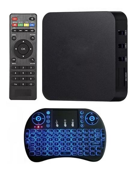 Tv Box Android Tv Pro 4k Netflix + Teclado Iluminado Modelo Nuevo