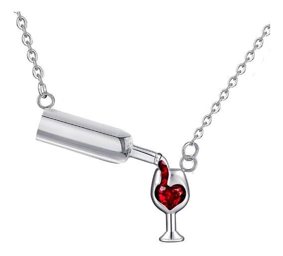 Regalo Mamá Día Amor Corazón Botella Copa Vino Swarovski E
