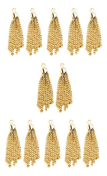 12 Peças Atacado Dourado/prata Borla Pingentes Colar Brinco