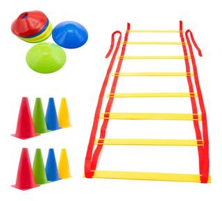 Kit Agilidade 3 - Escada + 10 Chapéu Chinês + 8 Cones 18cm