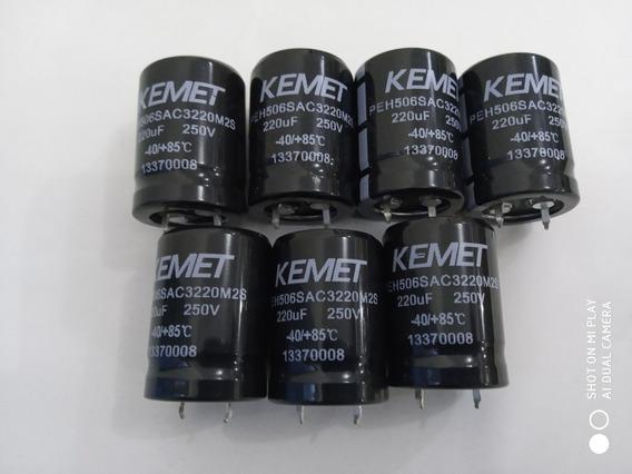 Kit C/ 7 Capacitor Eletrolítico Kemet 22ouf - 250v