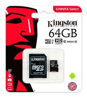 Memoria Microsdxc 64 Gb Kingston Clase 10 Celulares Tablet