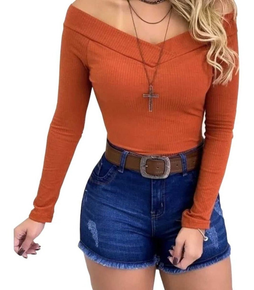 Body Bori Feminino Canelado Blusa Top Camiseta Ciganinha