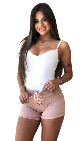 Bermuda Shorts Jeans Ilhós Hot Pants Feminina Moda Com Lycra
