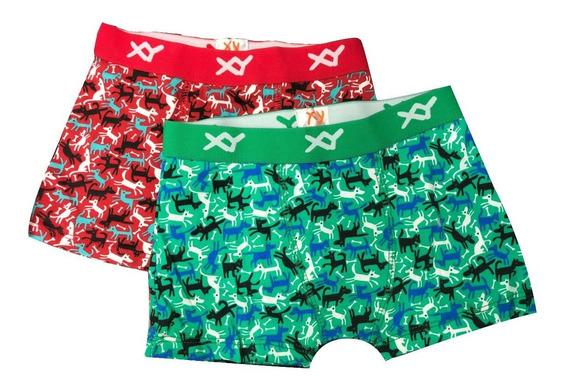 Pack X6 Boxer Niño Cromosoma Algodon Lycra Estampado 2 Al 14
