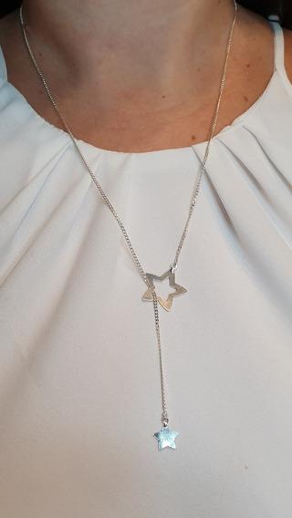 Colar Gravata Em Prata 925 Com Estrelas
