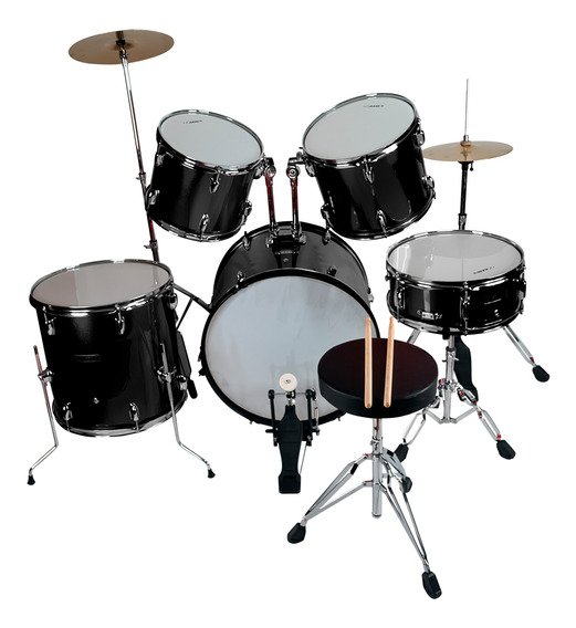Bateria Musical Profesional Adulto Color Negro