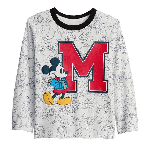 Playera Bebé Manga Larga Niño Estampada Mickey Mouse Gap
